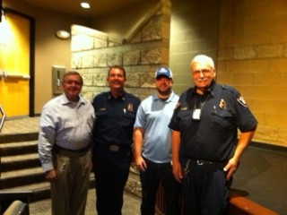 Jerry Davies, Chair, CFSC; Valley Center Fire District Fire Chief Josef Napier; Farmers Jerry Klem Agency Representative Paul Eccles; and George Lucia, Valley Center Fire Marshal.