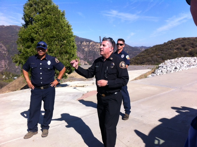 J. Lopez, Deputy Chief of L.A. County Fire Forestry Division hosted the first day of the two-day IBHS/Fair Plan Executive Wildland Fire Summit. J is also Vice Chair of the California Fire Safe Council. He gave the 50 member group a description of how L.A. County Fire utilizes helicopters, planes and ground crews fighting wildland fires.